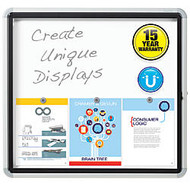 Quartet; Enclosed Outdoor Use Magnetic Dry-Erase Whiteboard, Steel, 27 inch; x 30 inch;, White/Silver