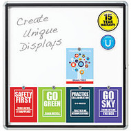 Quartet; Enclosed Outdoor Use Magnetic Dry-Erase Whiteboard, Steel, 39 inch; x 38 inch;, White/Silver