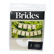 BRIDES; Just Married Banner, 7', Brown