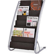 Alba Floor Literature Display 8 Levels - 800 x Sheet - 8 Compartment(s) - 36.6 inch; Height x 22.8 inch; Width x 19.7 inch; Depth - Floor - Silver, Black - Steel, ABS Plastic - 1Each