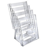 Azar Displays 4-Pocket Crystal Styrene Tiered Modular Brochure Holders, 16 1/2 inch;H x 9 inch;W x 7 1/2 inch;D, Clear, Pack Of 2