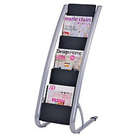 Alba 6-Pocket Magazine Rack, Black/Chrome