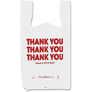COSCO Thank You Plastic Bags - 11 inch; Width x 22 inch; Length - 0.55 mil (14 Micron) Thickness - High Density - Plastic - 250/Box - White