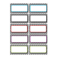 Ashley Productions Die-Cut Magnetic Nameplates, Black Chevron, 3 inch;H x 1 1/2 inch;W x 1/16 inch;D, Assorted Colors, 10 Nameplates Per Pack, Set Of 5 Packs