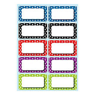 Ashley Productions Die-Cut Magnetic Nameplates, Polka Dot, 3 inch;H x 1 3/4 inch;W x 1/16 inch;D, Assorted Colors, 10 Nameplates Per Pack, Set Of 5 Packs