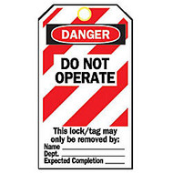 5-3/4 inch;X3 inch; DO NOT OPERATEPAPER LOCKOUT TAGS