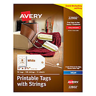 Avery; Printable Tags With Strings, Rectangle, 2 inch; x 3 1/2 inch;, White, Pack of 96
