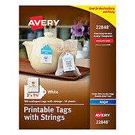Avery; Printable Tags With Strings, Scalloped, 2 inch; x 1/14 inch;, White, Pack of 180