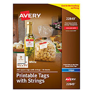 Avery; Printable Tags With Strings, Square, 1 1/2 inch; x 1 1/2 inch;, White, Pack of 200