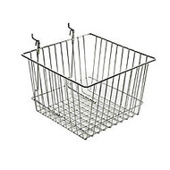 Azar Displays Chrome Wire Baskets, 4 1/4 inch;H x 12 inch;W x 12 inch;D, Silver, Pack Of 2