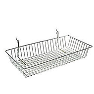 Azar Displays Chrome Wire Baskets, 5 inch;H x 24 inch;W x 12 inch;D, Silver, Pack Of 2