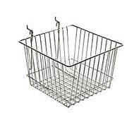 Azar Displays Chrome Wire Baskets, 8 inch;H x 12 inch;W x 12 inch;D, Silver, Pack Of 2