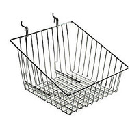 Azar Displays Chrome Wire Baskets, Sloped, 8 inch;H x 12 inch;W x 12 1/2 inch;D, Silver, Pack Of 2