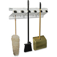 Ex-Cell Kaiser Clincher 333-6 WHT2 Glossy Mop & Broom Holder - 7.5 inch; Height x 34 inch; Width x 5.5 inch; Depth - Recycled - White - Steel - 1Each