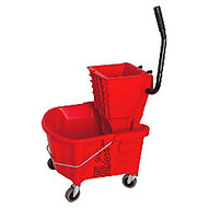 Genuine Joe; Mop Bucket And Wringer Combination, 26 Quarts, Red