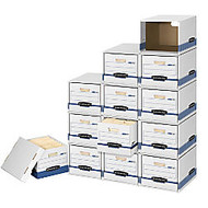 Bankers Box; File/Cube™ Storage Box Shells, Letter/Legal, 15 inch; x 12 inch; x 10 inch;, 60% Recycled, White/Blue, Pack Of 6