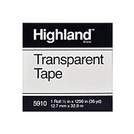 3M™ Highland™ 5910 Transparent Tape, 1/2 inch; x 1296 inch;