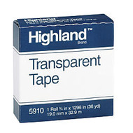 3M™ Highland™ 5910 Transparent Tape, 3/4 inch; x 1296 inch;