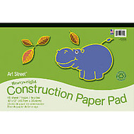 Art Street; 100% Recycled Construction Paper Pad, 18 inch; x 12 inch;, Assorted, Pad Of 48 Sheets