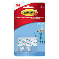 3M™ Command™ Clear Hooks, Small, 1-Lb Capacity, Pack Of 2