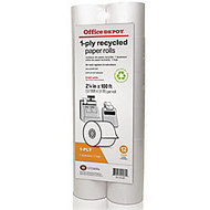 Office Wagon; Brand Calculator Print Rolls, 2 1/4 inch; x 100', 70% Recycled , White, Pack Of 12