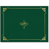 Geographics Gold Foil Border Certificate Holder - Letter - 8 1/2 inch; x 11 inch; Sheet Size - Hunter Green, Gold - Recycled - 5 / Pack
