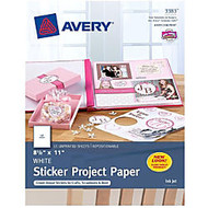 Avery Sticker Project Paper 03383, 8-1/2 inch; x 11 inch;, White, Pack of 15