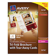 Avery; Tri-Fold Brochures With Tear-Away Cards, 4 Cards Per Sheet, Pack Of 50