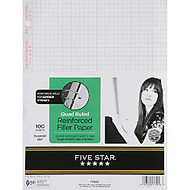 Five Star; XL™ Reinforced Filler Paper, 8 1/2 inch; x 11 inch;, Quadrille Ruled, Pack Of 100 Sheets