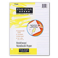 Five Star; XL™ Reinforced Filler Paper, 8 inch; x 10 1/2 inch;, Wide Ruled, Pack Of 110 Sheets