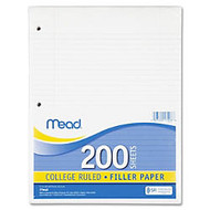 Mead Notebook Filler Paper - 200 Sheets - Printed - Spiral - 16 lb Basis Weight - Letter 8.50 inch; x 11 inch; - White Paper - 200 / Pack