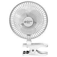 Comfort Zone CZ6C 6-inch Clip-On Desk Fan, White