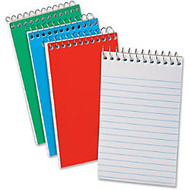 Ampad Wirebound Pocket Memo Book - 40 Sheets - Printed - Wire Bound - Narrow Ruled - 15 lb Basis Weight 4 inch; x 6 inch; - White Paper - Red, Green, Blue Cover - Pressboard Cover - 3 / Pack