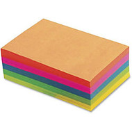 TOPS Fluorescent Memo Sheets - 500 Sheets - 20 lb Basis Weight - 4 inch; x 6 inch; - Assorted Paper - 500 / Pack