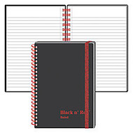 Black n' Red™ Wirebound Notebook, 4 1/8 inch; x 5 7/8 inch;, 1 Subject, Wide Ruled, 35 Sheets, Black/Red