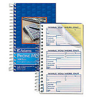 Adams; Phone Message Book, 8 1/2 inch; x 5 1/4 inch; , 100 Pages, White/Canary Yellow