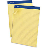 Ampad Basic Slot-perforated Pads - 50 Sheets - Printed - Stapled - 20 lb Basis Weight 8.50 inch; x 11.75 inch; - Yellow Paper - Canary Cover - 1Dozen