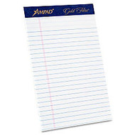 Ampad Gold Fibre Med. Ruled Prem. Jr. Legal Pads - 50 Sheets - Watermark - Stapled/Glued - 5 inch; x 8 inch; - White Paper - 4 / Pack