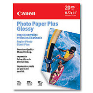 Canon; Inkjet Photo Paper Plus, Glossy, 8 1/2 inch; x 11 inch;, 72 Lb, Pack Of 20 Sheets