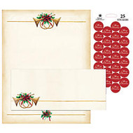 Great Papers!; Holiday Stationery Kit, Antique Horns, 8 1/2 inch; x 11 inch;, Pack Of 25