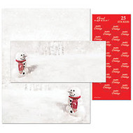 Great Papers!; Holiday Stationery Kit, Snowman In Red Scarf, 8 1/2 inch; x 11 inch;, Pack Of 25