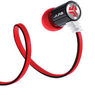 JLab Bass Rugged Earbud Headphones, Black/Red