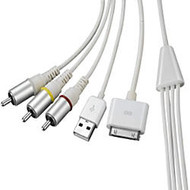 4XEM 30-Pin To RCA Composite Audio/Video Plus USB Charging For iPhone/iPod/iPad