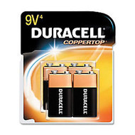 Duracell; Coppertop 9-Volt Alkaline Batteries, MN16RT4Z, Pack Of 4