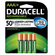 Duracell; NiMH AAA Rechargeable Batteries, Pack Of 4, NL2400B4N001