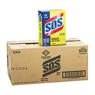 Clorox S.O.S. Steel Wool Heavy-Duty Soap Pads, Steel, 15 Pads Per Box, Case Of 12 Boxes