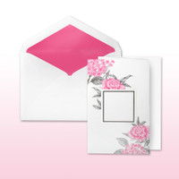 Hot Pink And Black Printed Floral With Area For Names Or Monogram Fan Fold - 50 Pack Kit (Invitations, Inner Envelopes, Outer Envelopes)