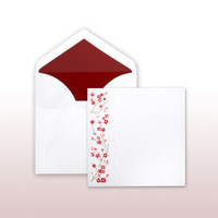 Red Cherry Blossoms Printed And Embossed On Side Panel - 50 Pack Kit (Invitations, Inner Envelopes, Outer Envelopes)