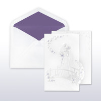Purple And Pearl Printed/Stamped Bride And Groom On Bridge Fan Fold - 50 Pack Kit (Invitations, Inner Envelopes, Outer Envelopes)