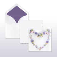 Purple, Blue, Red, Yellow Floral Heart Translucent Pocket With White Scalloped Edge Insert (includes both pieces) - 50 Pack Kit (Invitations, Inner Envelopes, Outer Envelopes)